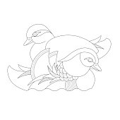 Line drawing of a pair of Mandarin ducks, a fundamental symbol in Feng Shui, representing faith, fidelity, true love, romance and marital happiness.