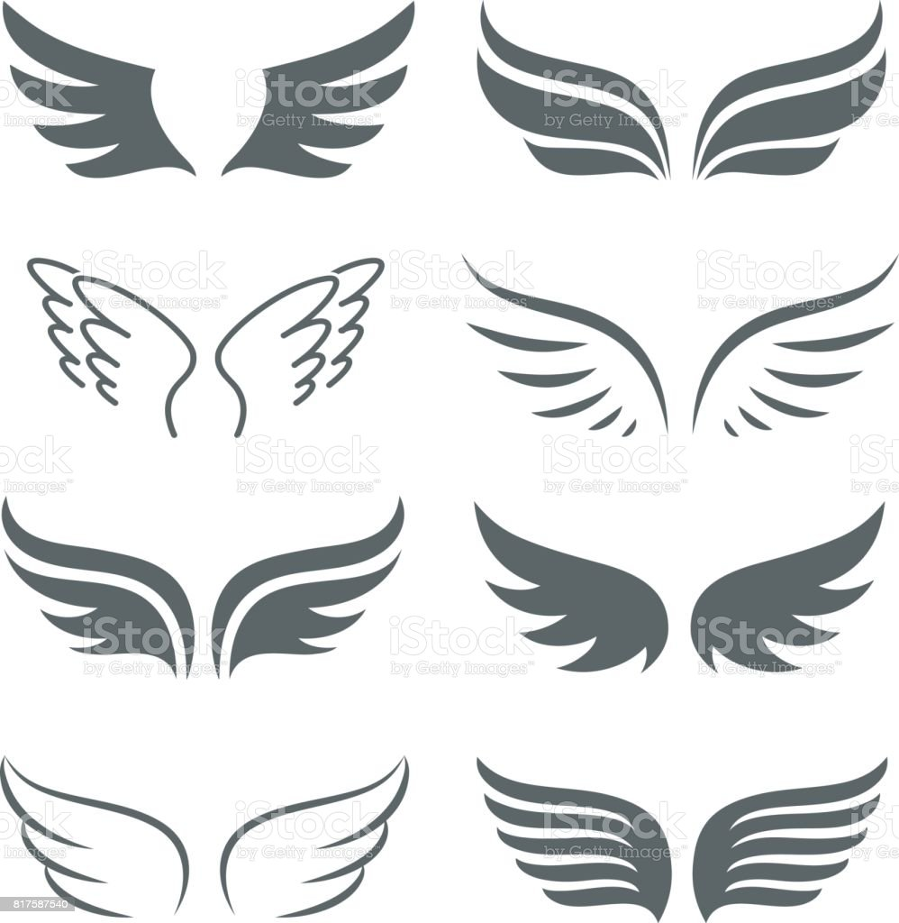 Pair of monochrome wings vector icon set vector art illustration