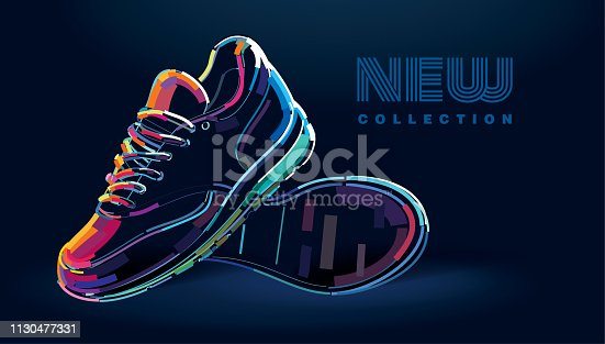 Pair of new sport running shoes. Banner in a digital painting