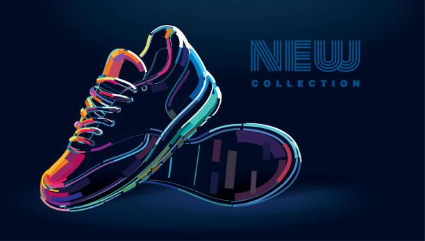para nowych sportowych butów do biegania - but sportowy stock illustrations
