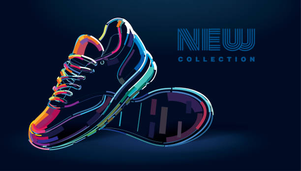 Pair of new sport running shoes Pair of new sport running shoes. Banner in a digital painting shoe stock illustrations