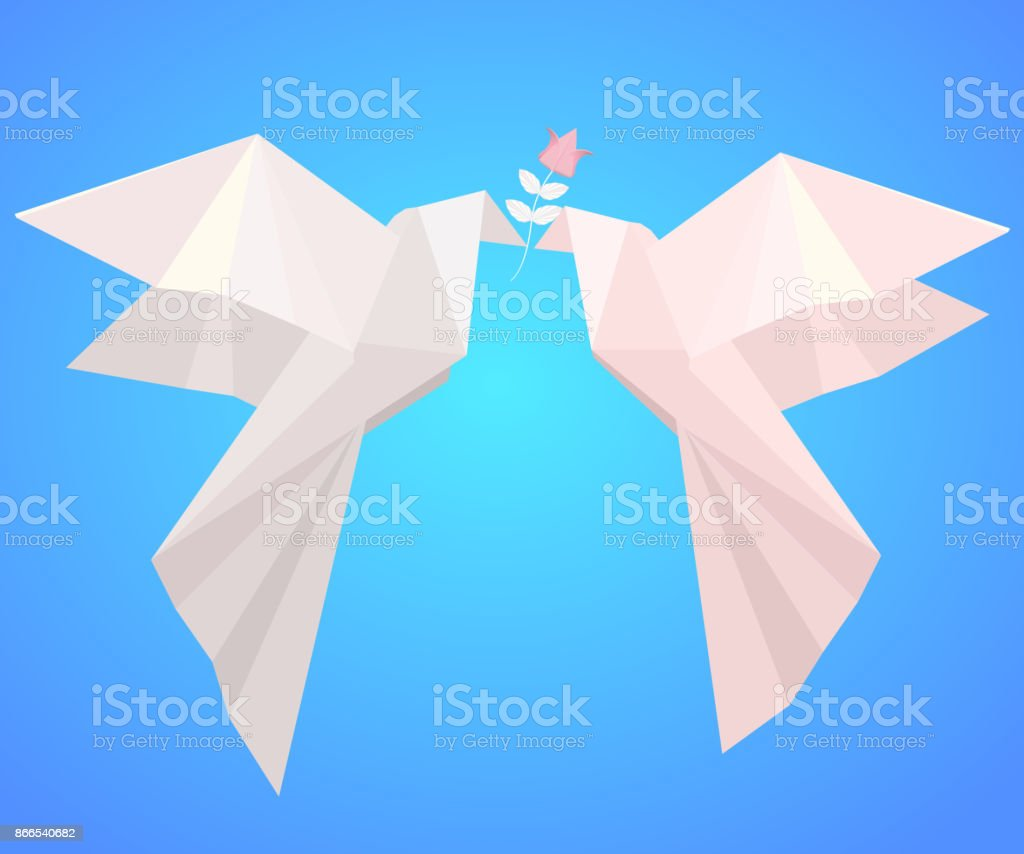 Pair of paper origami pigeons with flower symbol of love stock pair of paper origami pigeons with flower symbol of love royalty free pair jeuxipadfo Gallery