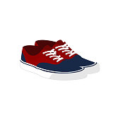 Pair of Red Blue Casual Sneaker Shoes Fashion Style Item Vector Illustration Graphic Design