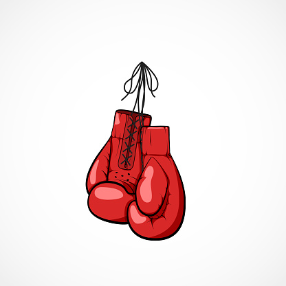 Pair of red hand drawn boxers glovers on a string. Boxers glovers symbol of martial art and sport. Boxing competitions concept. Vector illustration isolated on white background