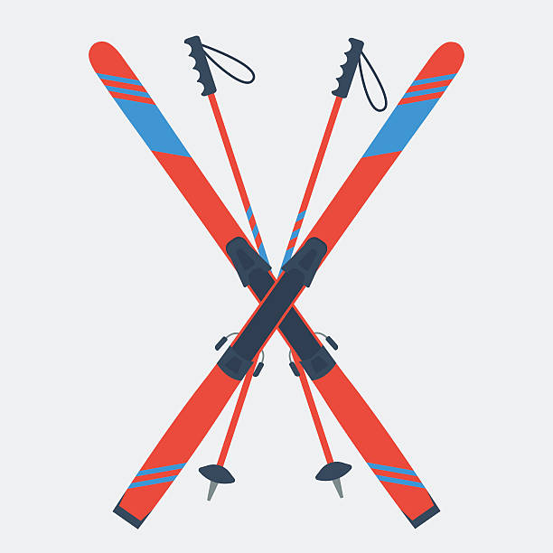 pair of red skis and ski poles - skifahren stock-grafiken, -clipart, -cartoons und -symbole