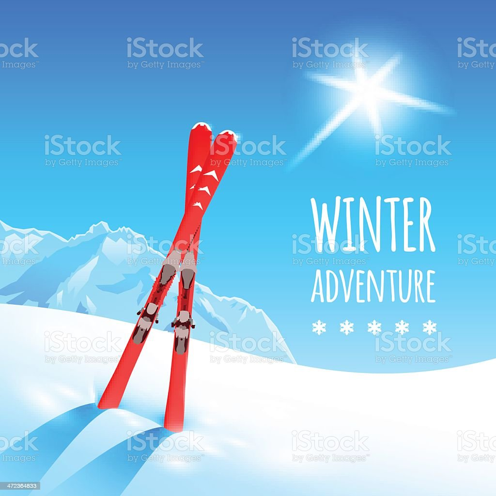 Pair of red skis dug into white snow under the bright sun vector art illustration