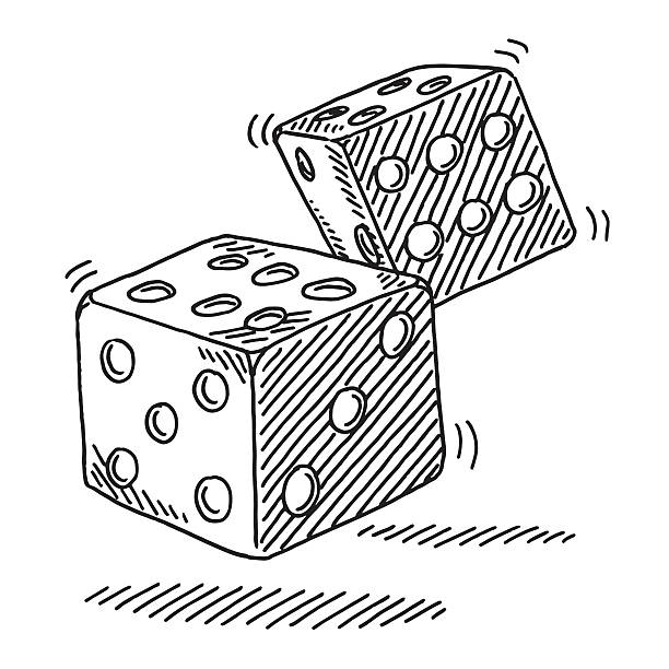 Pair Of Rolling Dices Drawing Hand-drawn vector drawing of a Pair Of Rolling Dices. Black-and-White sketch on a transparent background (.eps-file). Included files are EPS (v10) and Hi-Res JPG. game stock illustrations