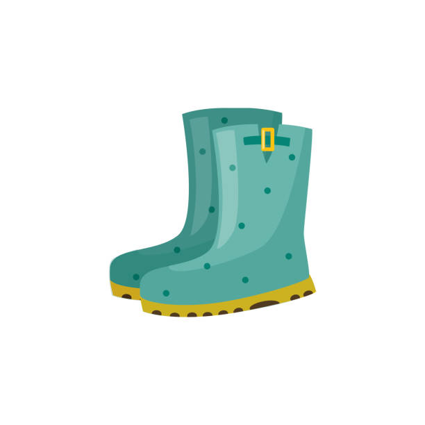 pair of rubber boot in turquoise color - waterproof autumn footwear for seasonal design. - square foot garden stock illustrations, clip art, cartoons, & icons
