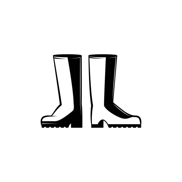 pair of rubber boots monochrome silhouette - protective farm shoes for agricultural works. - square foot garden stock illustrations, clip art, cartoons, & icons