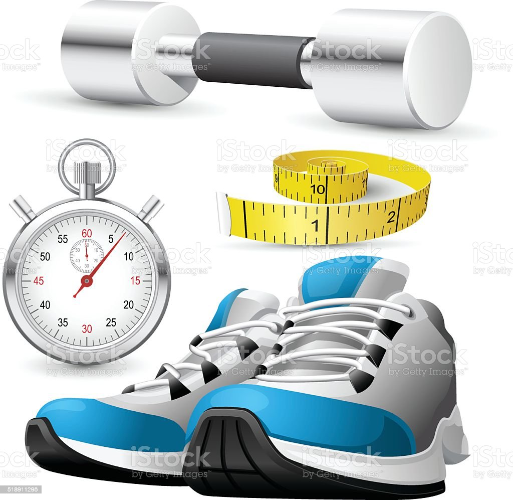 Pair of running shoes, stopwatch and measuring tape vector art illustration