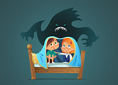 Pair of scared children sitting on bed and hiding from frightening ghost under blanket. Fearful kids and imaginary monster. Cartoon characters isolated on white background.  illustration