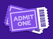 Pair of Admit One tickets for an entertainment event, movie or performance show.