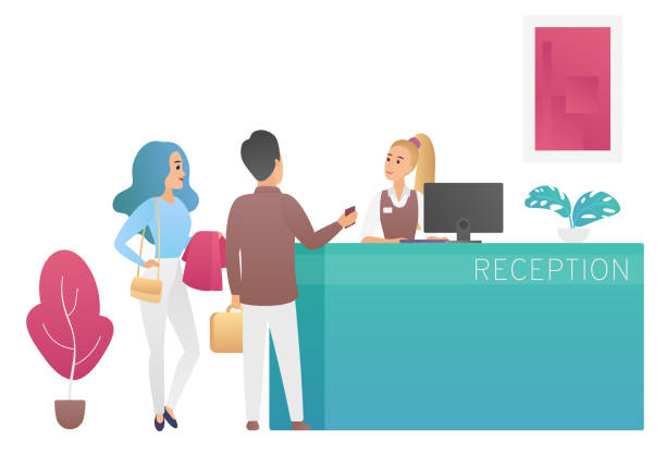 pair of tourists travellers standing at reception desk and talking to woman receptionist. people guests at hotel lobby cartoon flat vector illustration. - hotel reception stock illustrations