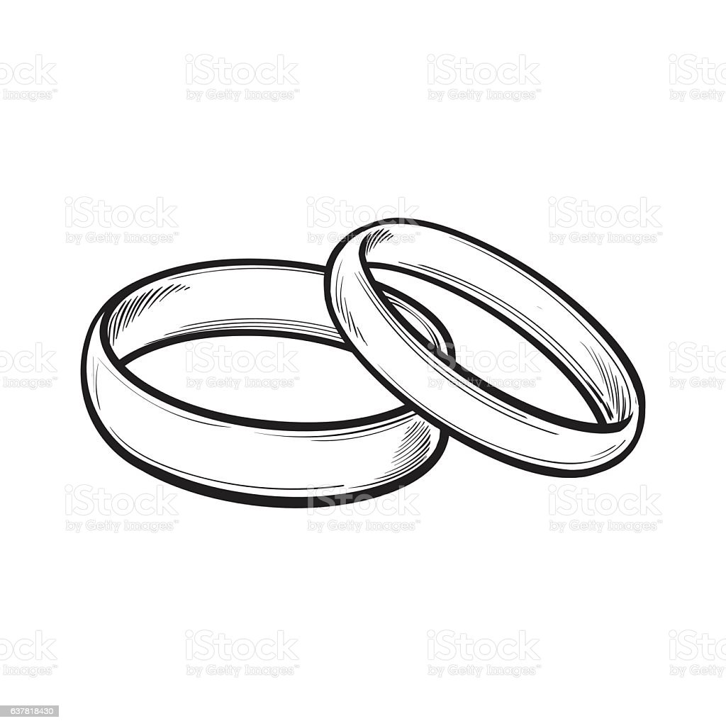 Pair Of Traditional Wedding Rings For Bride And Groom Stock Vector