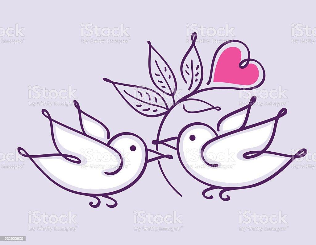 Paar Valentinstag Vögel – Vektorgrafik