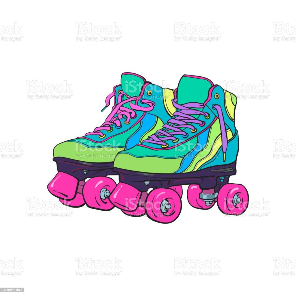 Pair of vintage, retro quad roller skates, sketch style illustration vector art illustration