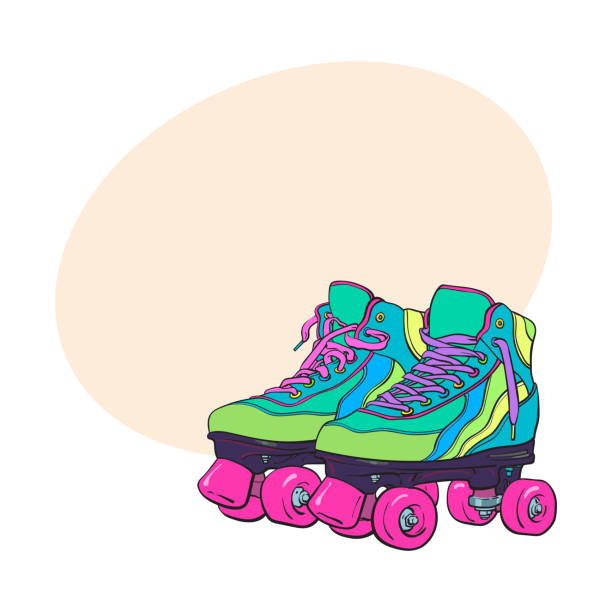 paar von vintage, retro-quad-roller-skates, skizzieren stil illustration - rollschuh stock-grafiken, -clipart, -cartoons und -symbole