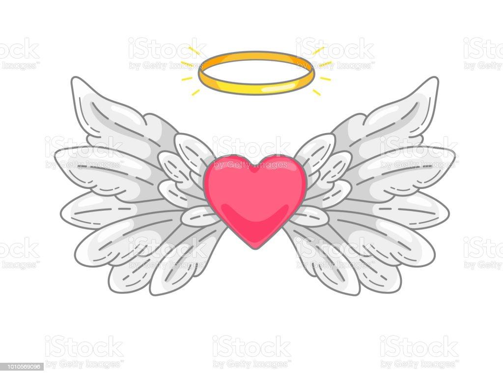 一対全体の金色の光輪や途中でニンバスと赤のハートと天使の翼を広げています。グレーと白の羽。愛とバレンタインの日シンボル。ベクトル図 ベクターアートイラスト