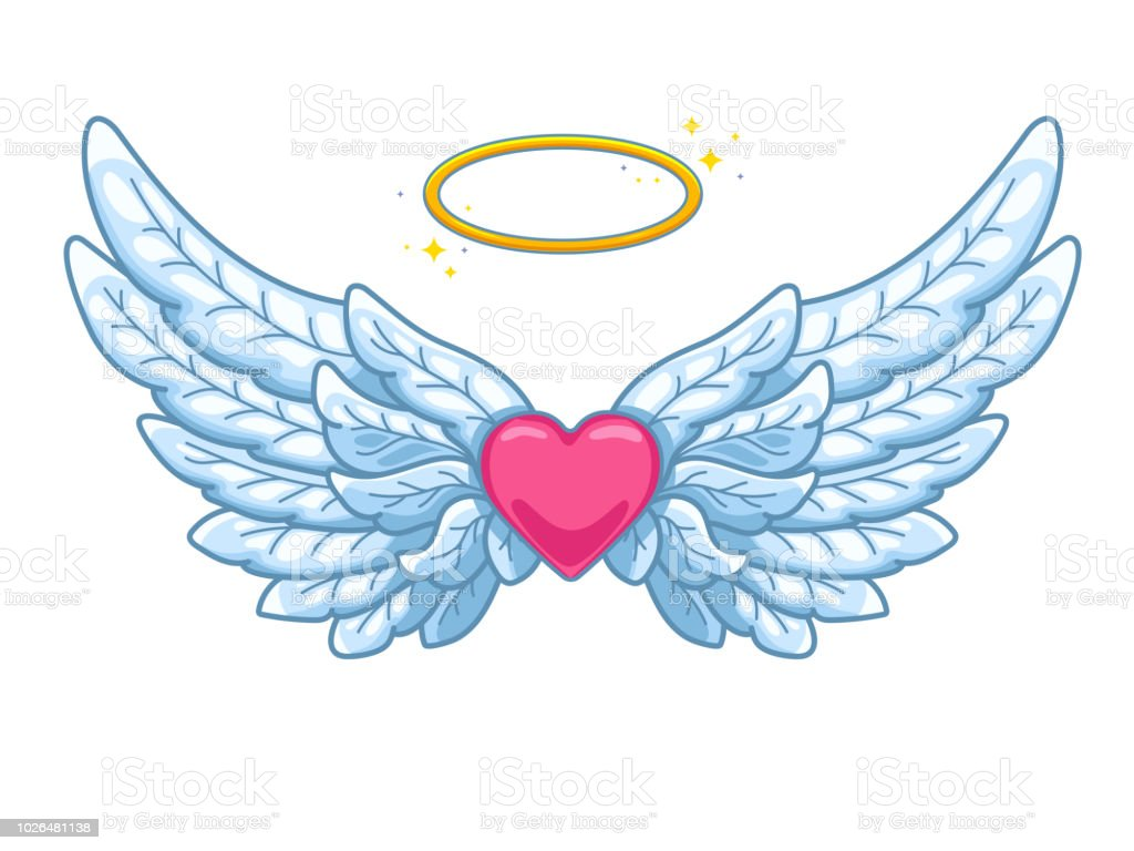 A Pair Of Wide Spread Angel Wings With Golden Halo Or ... Angel Wings Heart Halo
