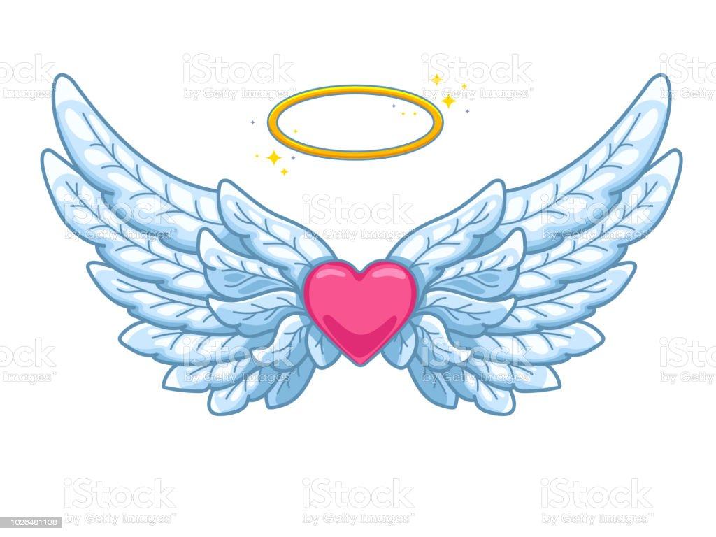 一対全体の金色の光輪や途中でニンバスと赤のハートと天使の翼を広げています。青と白の羽。愛とバレンタインの日シンボル。ベクトル図 ベクターアートイラスト