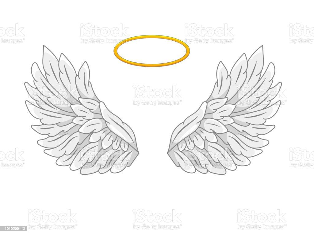 一対全体の金色の光輪やニンバスと天使の翼を広げます。グレーと白の羽。ボリュームと近代的なライン スタイルでの等高線の描画。ベクトル図 ベクターアートイラスト