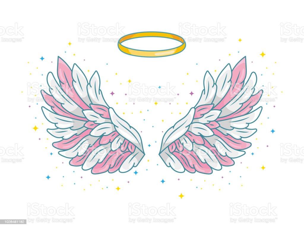 一対全体の金色の光輪やニンバスと天使の翼を広げます。輝く星とピンク、グレー、白の羽。魔法ファンタジー概念。ベクトル図は、白で隔離。 ベクターアートイラスト