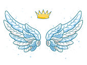 A pair of wide spread blue angel wings with golden crown above. Little prince or princess concept. Contour drawing in modern line style with volume. Vector illustration