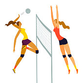 A pair of women playing dynamic volleyball.