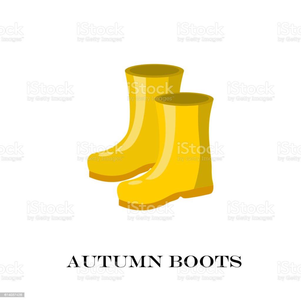 Pair of yellow rubber rain boots. Symbol garden wok or vector art illustration