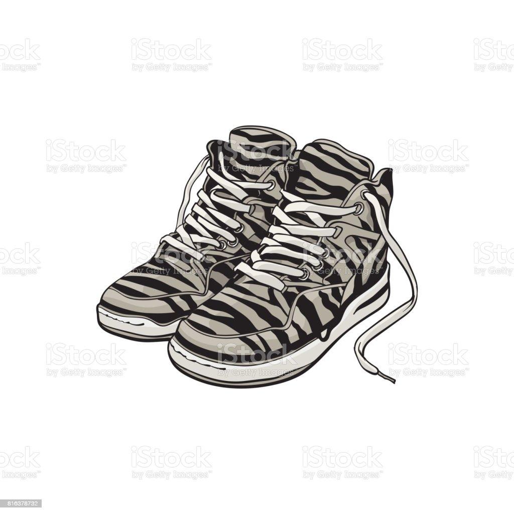 90er Jahre Zebra Paar Chaussures Tennis Gemusterten de SportChaussuresAus ymNn0w8vO