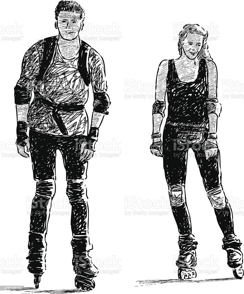 pair on a roller skates royalty-free stock vector art