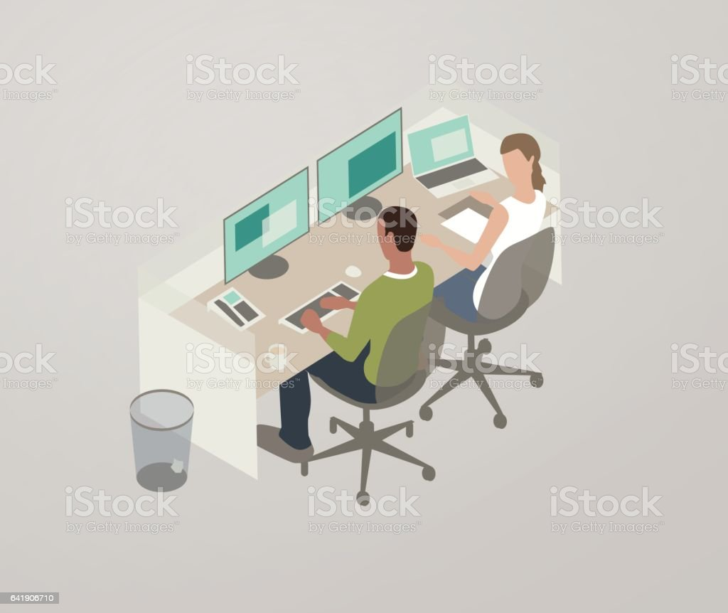 Pair programming illustration royalty-free pair programming illustration stock vector art & more images of business
