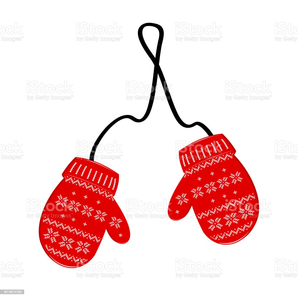Pair red of knitted christmas mittens on white background. Vector illustration. - Royalty-free Acessório arte vetorial
