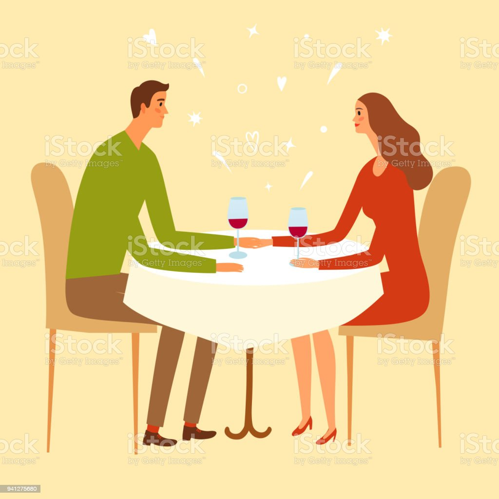 Pair sitting in a restaurant and holding hands. vector art illustration