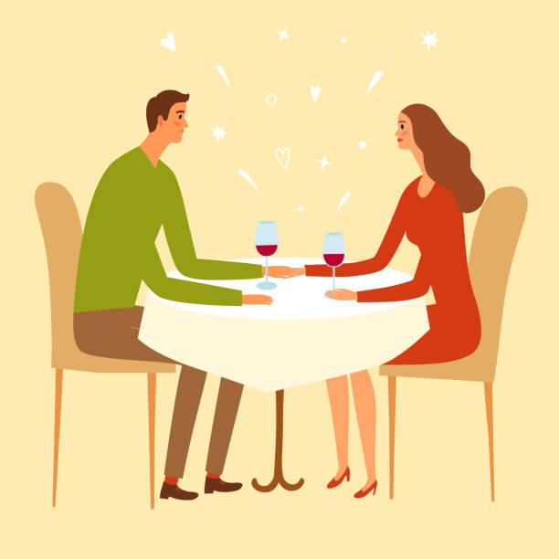 pair sitting in a restaurant and holding hands. - отвести взгляд stock illustrations