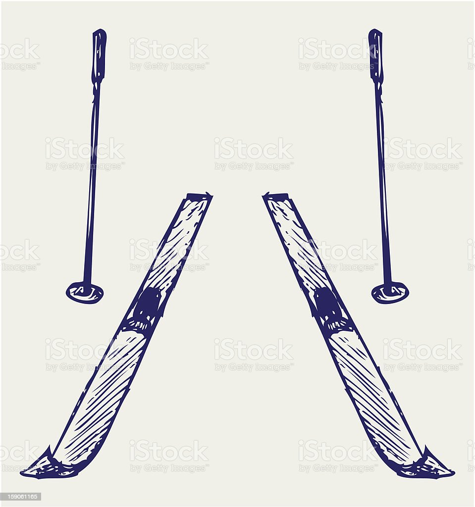Pair skis royalty-free stock vector art