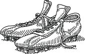 Pair Soccer Shoes Drawing