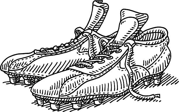 Pair Soccer Shoes Drawing Hand-drawn vector drawing of a Pair of Soccer Shoes. Black-and-White sketch on a transparent background (.eps-file). Included files are EPS (v10) and Hi-Res JPG. soccer stock illustrations