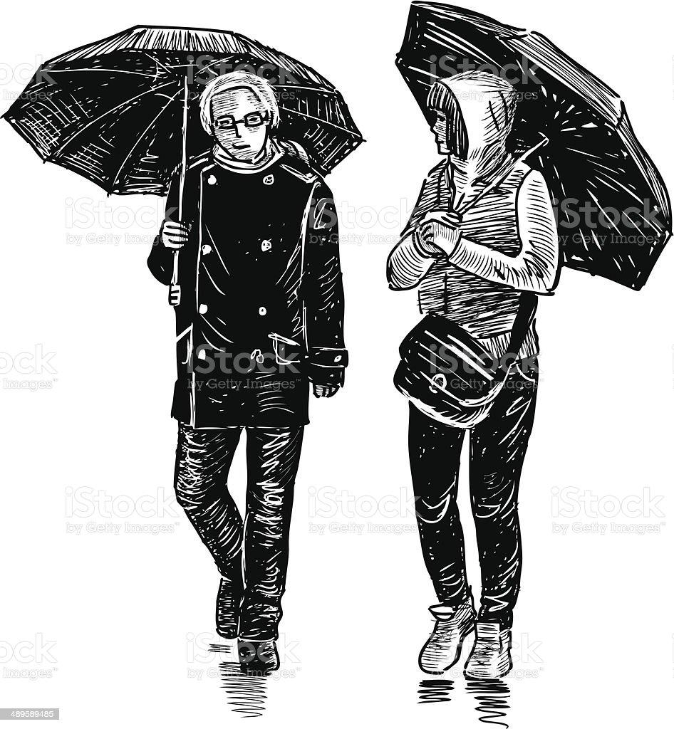 pair under umbrellas royalty-free stock vector art