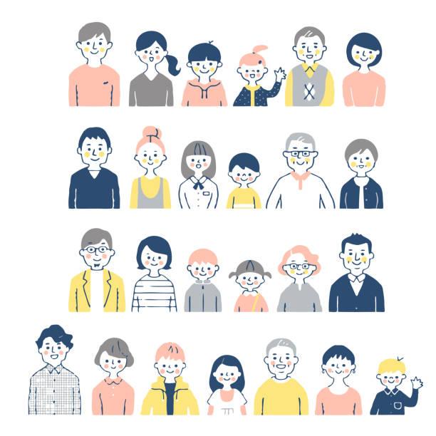 ilustrações de stock, clip art, desenhos animados e ícones de 4 pairs of 3rd generation family smiling(bust) - somente japonês
