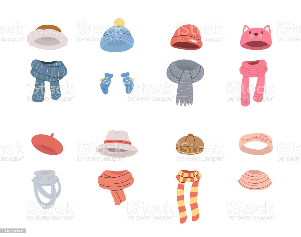 Pairs Of Cute Hats And Scarves For Cold Winter Weather Stock Illustration Download Image Now Istock