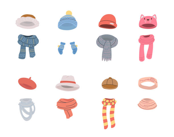 ilustrações de stock, clip art, desenhos animados e ícones de pairs of cute hats and scarves for cold winter weather - cachecol