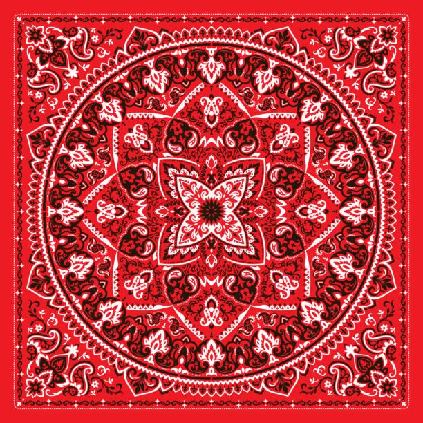 ilustrações de stock, clip art, desenhos animados e ícones de paisley bandana print - lenço do pescoço