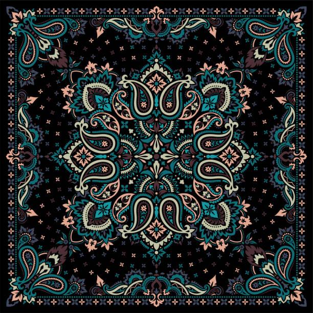 Paisley Bandana print Vector ornament paisley Bandana Print, silk neck scarf or kerchief square pattern design style for print on fabric. headscarf stock illustrations