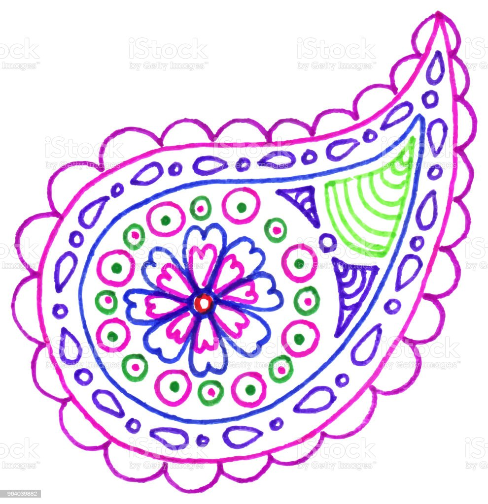 Paisley buta doodle colorful single isolated vector - Royalty-free Abstract stock vector