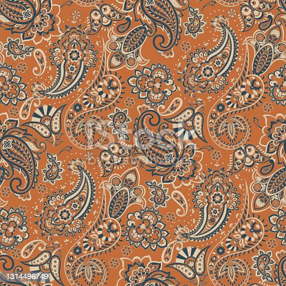 istock Paisley Damask ornament. Seamless Vector pattern 1314496749
