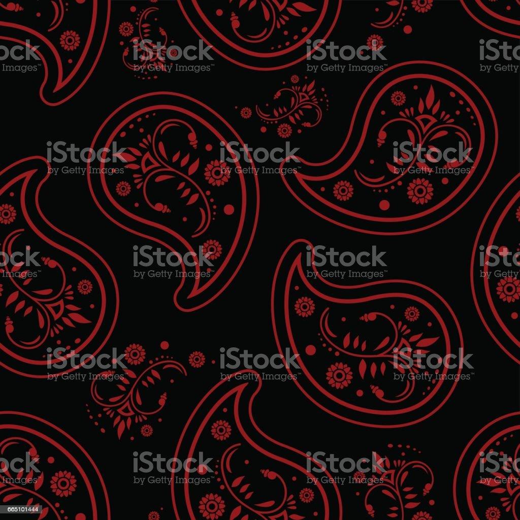 ペイズリー黒赤い壁紙が濃いシームレス パターン レトロなデザイン