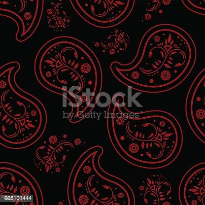 Paisley Dark Black Red Wallpaper Seamless Pattern Retro Design Stock Vector Art More Images Of Backgrounds 665101444