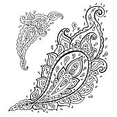 Paisley. Ethnic ornament Hand Drawn Vector illustration isolated