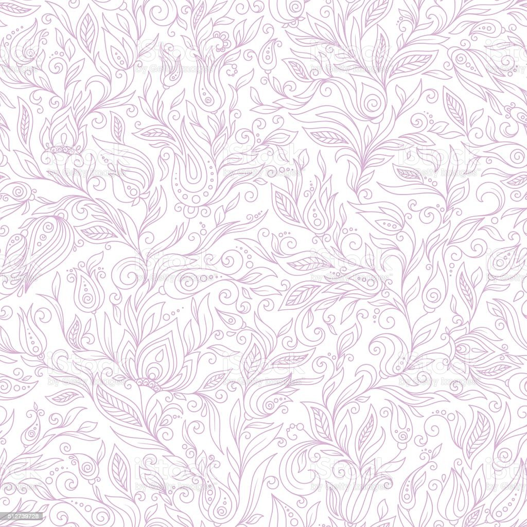 Paisley Flowers Design Elements Seamless Pattern vector art illustration